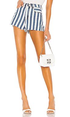 superdown Sydney Striped Denim Shorts in Blue & White from Revolve.com