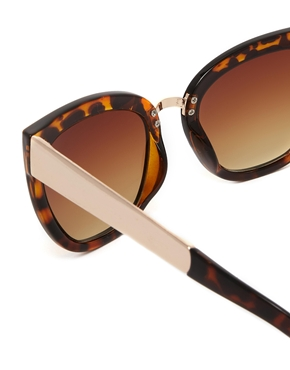 ASOS | ASOS Cat Eye Sunglasses With Metal Bridge Detail at ASOS