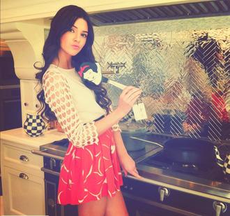 skirt coral cream shirt girly kendall jenner shirt