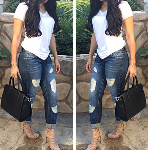 jeans shoes pants shirt