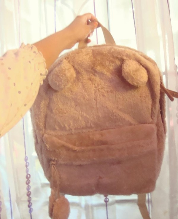 bag backpack cute brown bear fluffy