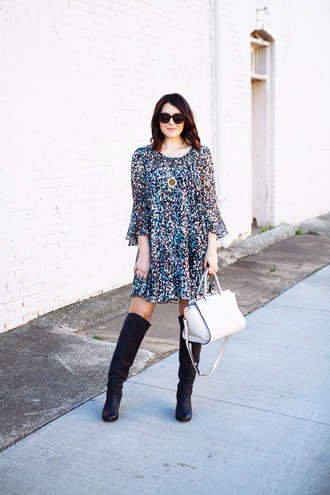 kendi everyday blogger boho dress print knee high boots black boots white bag dress shoes sunglasses jewels bag