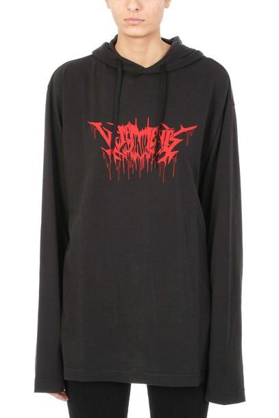 Vetements hoody cotton print black sweater