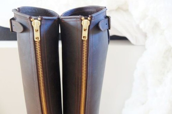 zip shoes black boots gold
