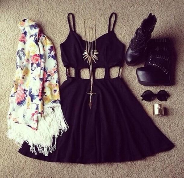 Dress: little black dress, black caged dress, sexy dress ...