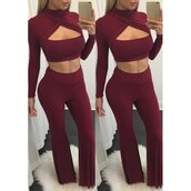 jumpsuit,burgundy,pants,crop tops,two-piece,trendy,fashion,style,red,rose wholesale-feb,trendsgal,burgundy jumpsuit,long sleeves,long sleeve jumpsuit,bad girls club,flare pants