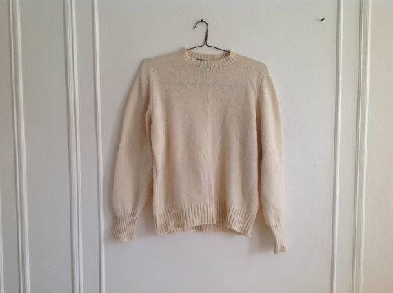 Cream Color Sweater Caude by Brentwood  M/L by UglyCousin on Etsy