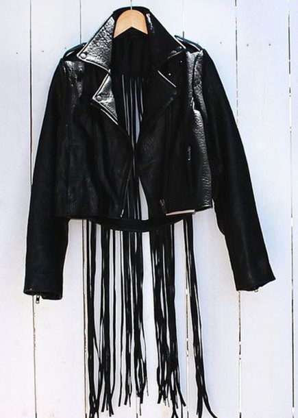 jacket leather jacket black jacket fringed jacket