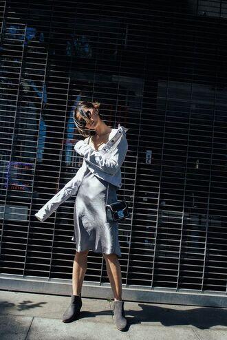 dress tumblr silver dress midi dress lip dress slip dress metallic metallic dress jacket denim jacket blue jacket boots grey boots ankle boots bag black bag satin dress satin