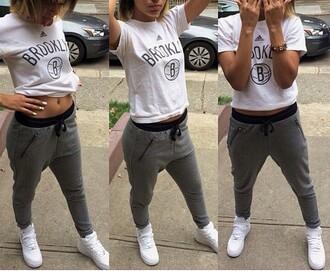 pants joggers grey brooklyn sweatpants t-shirt shoes