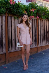 romper,pink romper,tumblr,sandals,sandal heels,high heel sandals,bag,white bag,summer outfits,shoes,hapa time,blogger