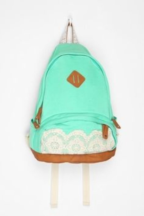 bag cute colour lace school bright mint green kimchi lace & jersey  baachpack mint backpack lace cute kylie jenner