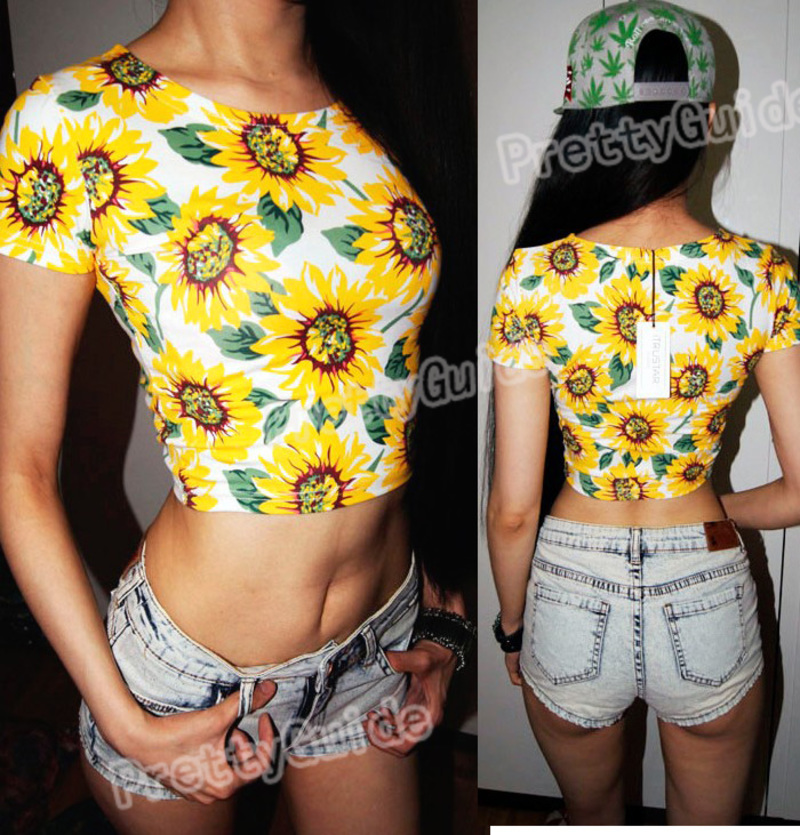 Sexy Belly Sunflower Print Bare Midriff Crop Top Tee T Shirt | eBay