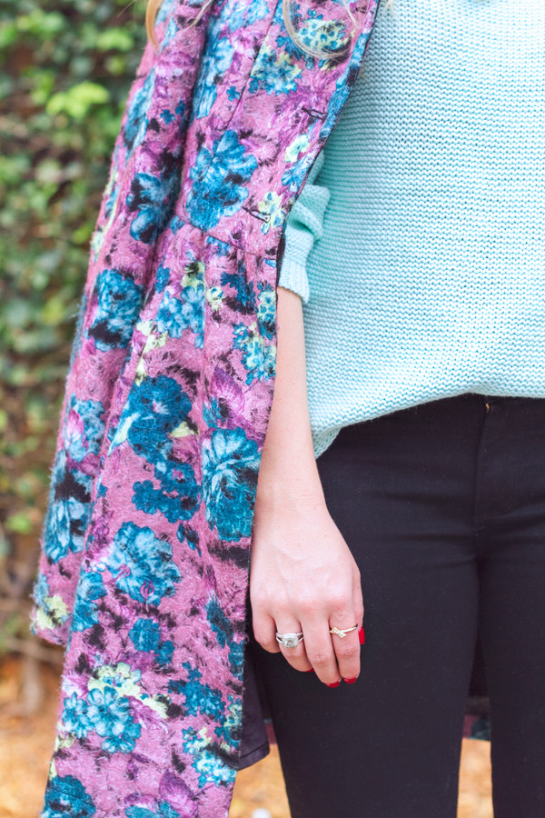 living in color print coat shoes jeans sweater jewels