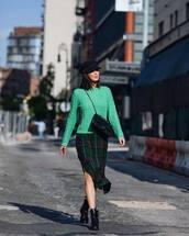dress,checkered,ruffle dress,side split,sweater,black boots,crossbody bag,cape