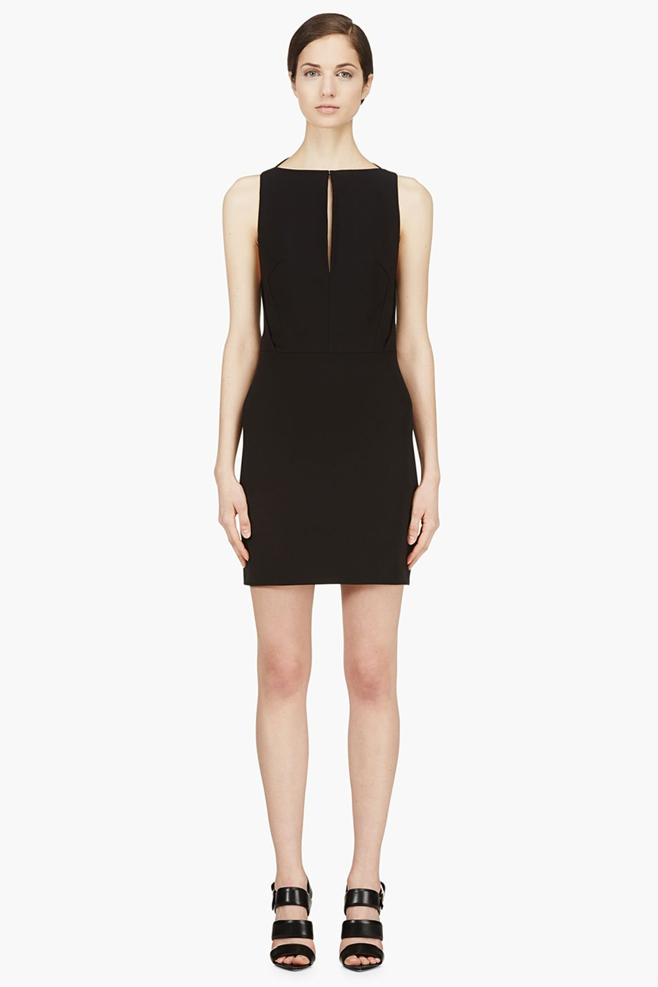 mugler black open back dress