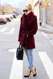 coat,burgundy coat,ripped jeans,black stilettos,black bag,blogger,sunglasses
