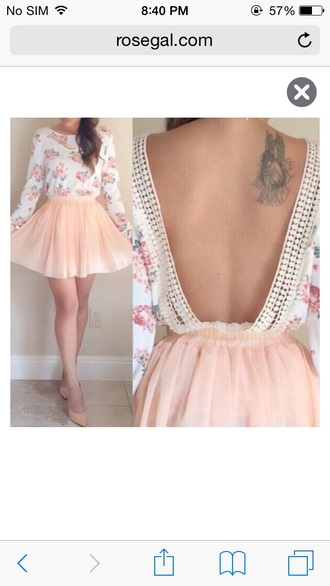 roses floral backless tattoo floral top chiffon skirt peach tulle skirt cute cute outfits cute top blouse