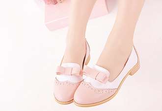 shoes kawaii girly pink bow loafers flats