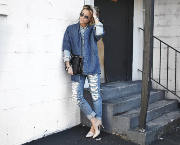 happily grey blogger denim ripped jeans coat top shoes bag jewels