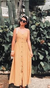 dress,maxi dress,stripes,button up,long dress,summer dress,orange dress,summer outfits