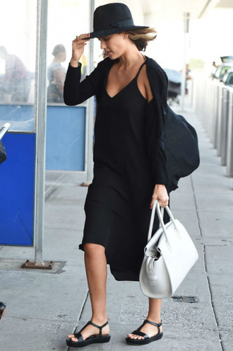 dress hat sandals all black everything summer dress midi dress jessica alba cardigan