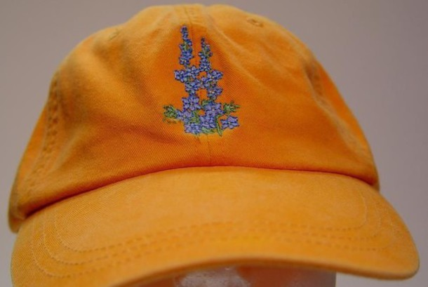 hat baseball cap flower embroidery lavender yellow