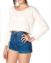 sweater,long sleeves,pink,daisy sweater,cropped
