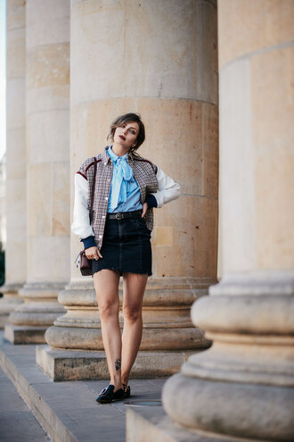 skirt tumblr mini skirt denim denim skirt black skirt shoes loafers shirt bow shirt blue shirt jacket bomber jacket