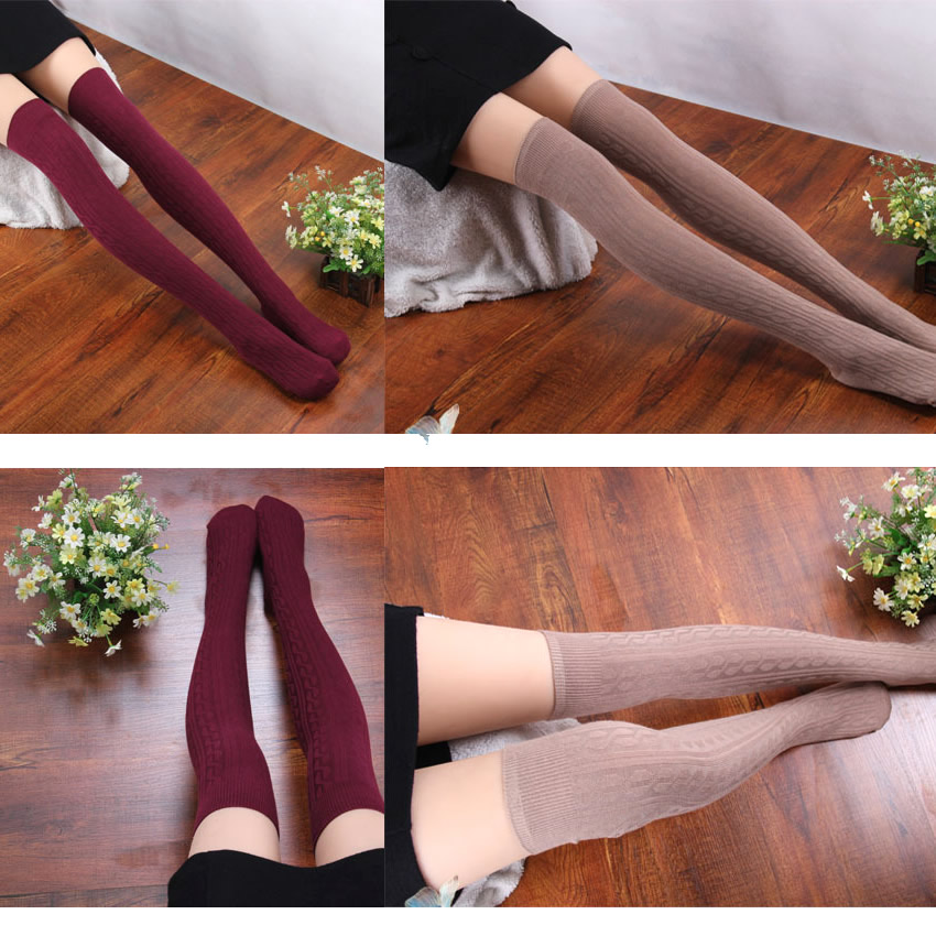 Women Lady Knitting Cotton Over Knee Thigh Stockings High Socks Pantyhose Tights | eBay