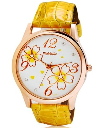 3 women's analog watch with faux leather strap (yellow)
