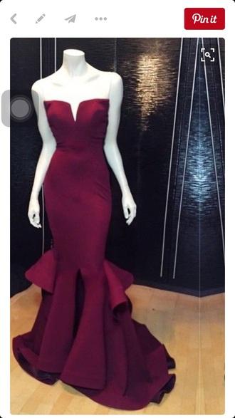 dress prom dress mermaid prom dress burgundy