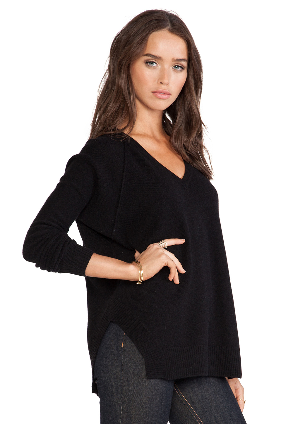 Kingsley cashmere v neck sweater in black from revolveclothing.com
