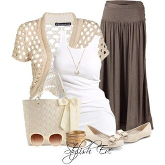 shirt long skirt bangle sunglasses flats necklace gold bow handbag blouse summer