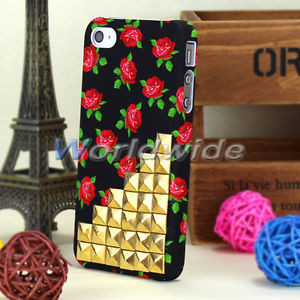 Passion Flowers Rose Gold Studded Skin Back Cover Case for iPhone 4 4G 4S Luxury | eBay