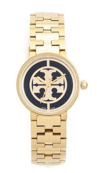 watch gold black jewels