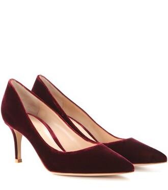 pumps velvet red shoes