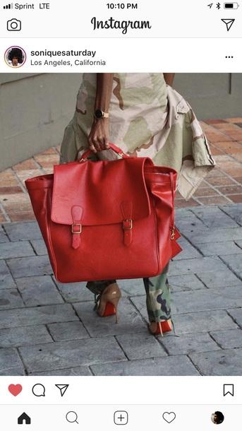 bag red oversized satchel