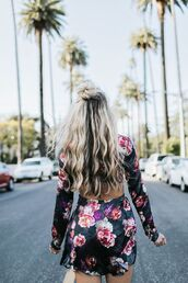 dress,hun,tumblr,mini dress,floral,floral dress,long sleeves,long sleeve dress,open back,open back dresses,backless,backless dress,long hair,blonde hair