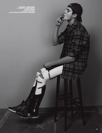 pants ripped zip black white model lines zipped pants grunge menswear editorial saint laurent