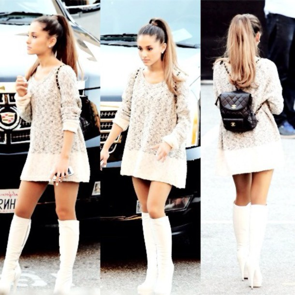 Sweater: sweater dress, knitted sweater, ariana grande, dress ...
