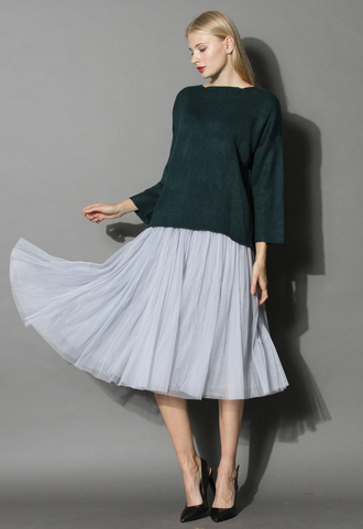 sweater tie a ribbon bow knit top in dark green chicwish