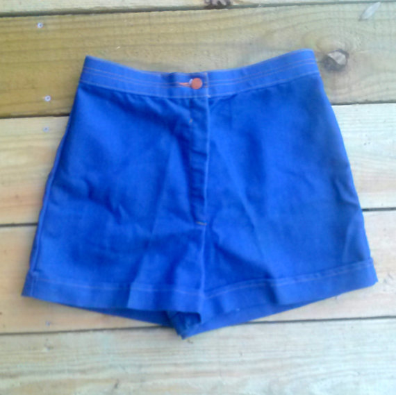 Vintage blue high waisted shorts size 12 by wubbadubsellz on etsy