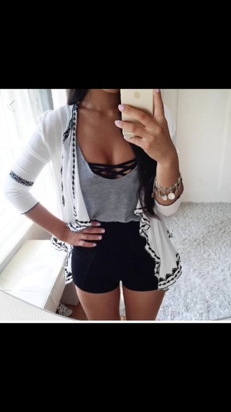 underwear black bra brandy melville brallete criss cross top grey shirt cardigan white cardigan