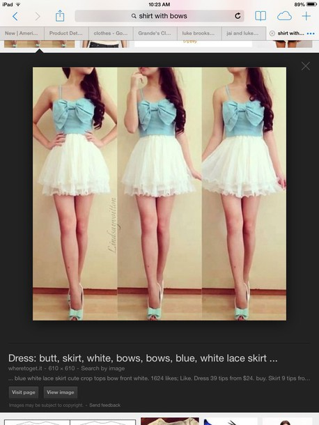 blue bow light blue blouse strapless dress girly chiffon tulle skirt fashion style now shirt