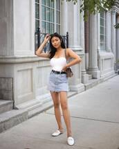 skirt,top,white top,strapless tops,denim,shoes,bag