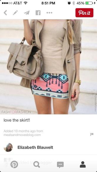 skirt tribal skirt pink skirt