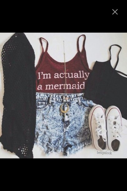 shirt mermaid converse sneakers white cardigan see through crop tops tank top acid wash necklace shorts denim shorts High waisted shorts acid washed shorts sweater t-shirt