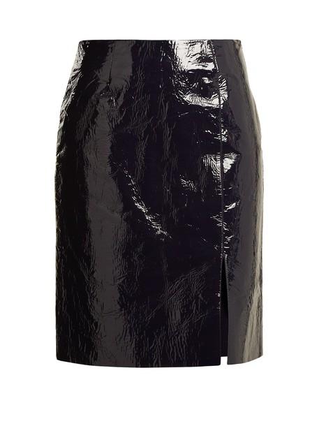 Diane Von Furstenberg skirt pencil skirt leather pencil skirt slit leather navy