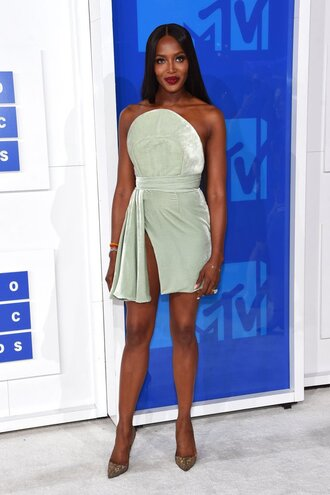 dress prom dress pumps naomi campbell mini dress vma mtv green dress sexy dress model celebrity slit dress pointed toe pumps high heel pumps